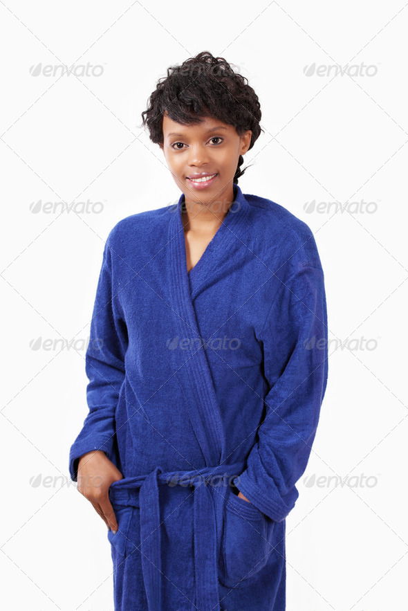 Sleepy girl in robe - Stock Photo - Images