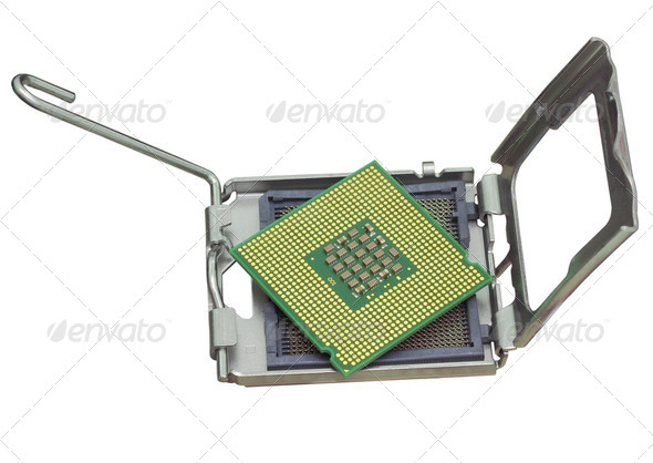 The computer the processor on a white background - Stock Photo - Images