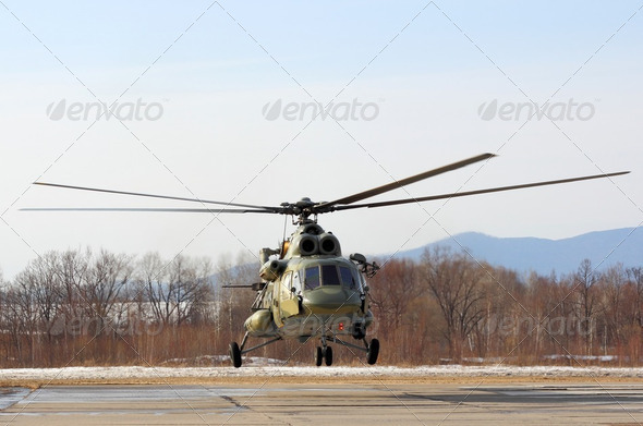 Russian army Mi-8 helicopter - Stock Photo - Images