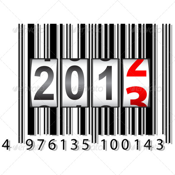2013 New Year counter, barcode, vector. - Stock Photo - Images