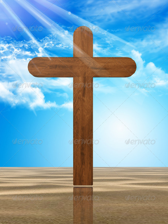 wooden cross in the desert - Stock Photo - Images