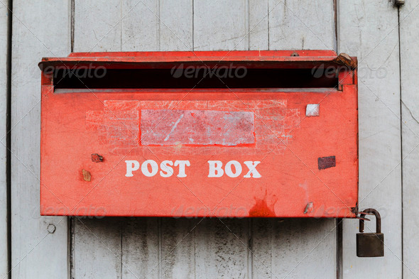 Old red post box - Stock Photo - Images