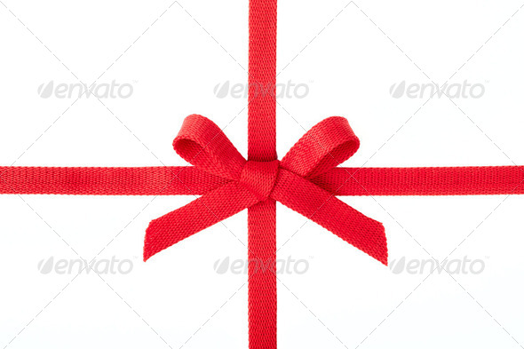 Red ribbon bow isolated on white background - Stock Photo - Images