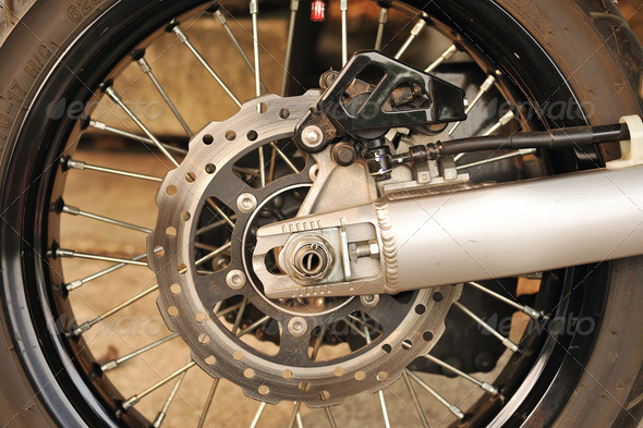 Motorbike engine disk brake - Stock Photo - Images