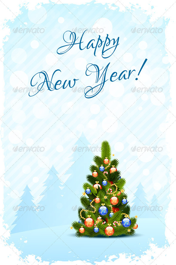 Grungy Happy New Year Card - New Year Seasons/Holidays