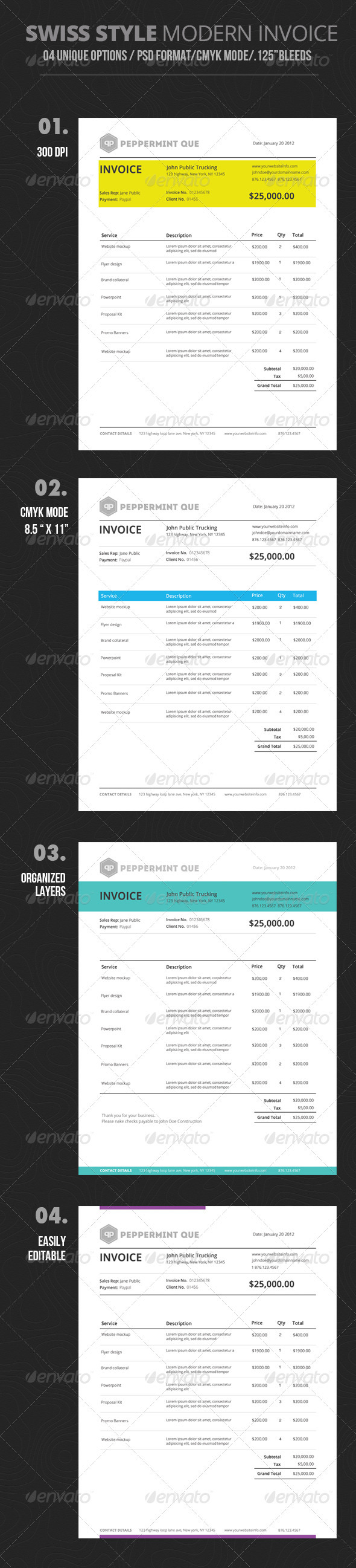 GraphicRiver Swiss Style Invoice 3262586