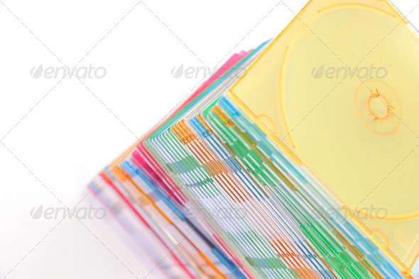 Stack of disks isolated on white background - Stock Photo - Images