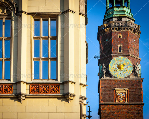 Monuments in the city of Wroclaw - Rynek, Poland - Stock Photo - Images