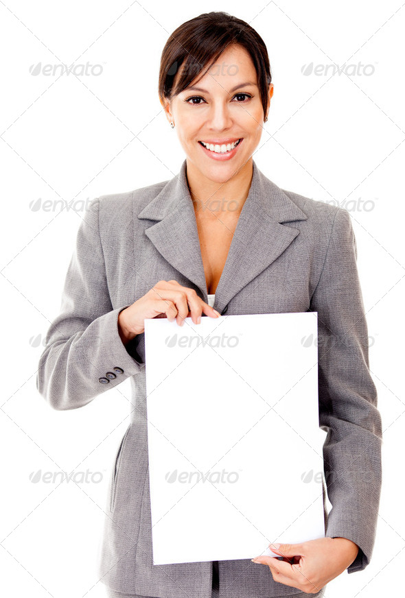 Business woman holding a document - Stock Photo - Images