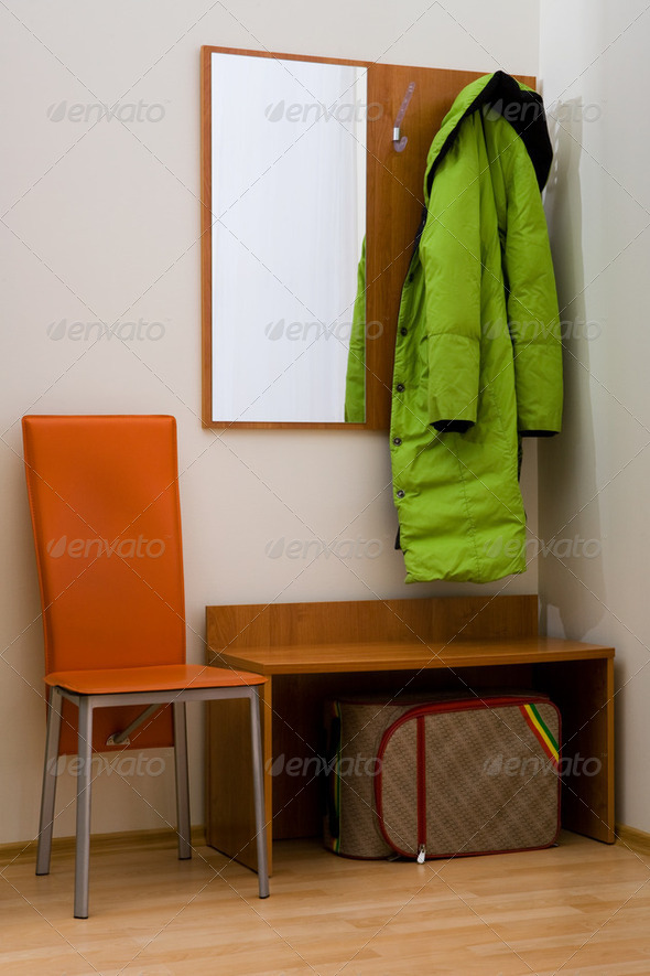 hall-stand and coat - Stock Photo - Images