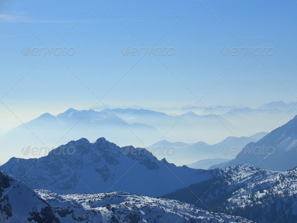 Giulian alps in the fog - Stock Photo - Images