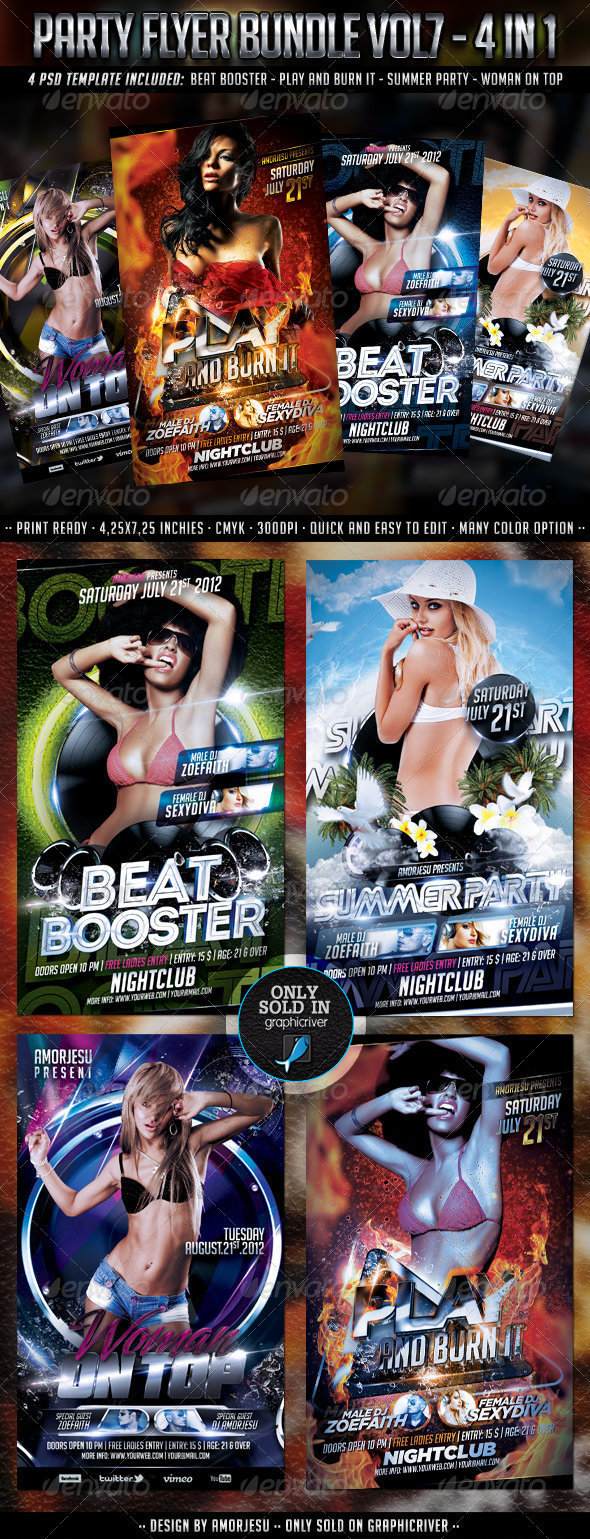 Party Flyer Bundle Vol7 - 4 in 1 - Clubs &amp; Parties Events
