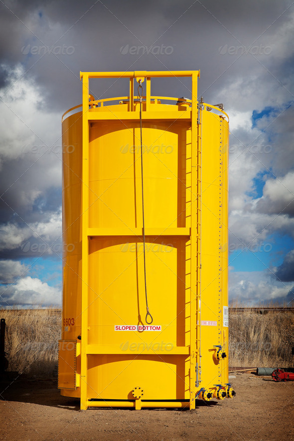 Sloped Bottom Oil Storage Tank - Stock Photo - Images