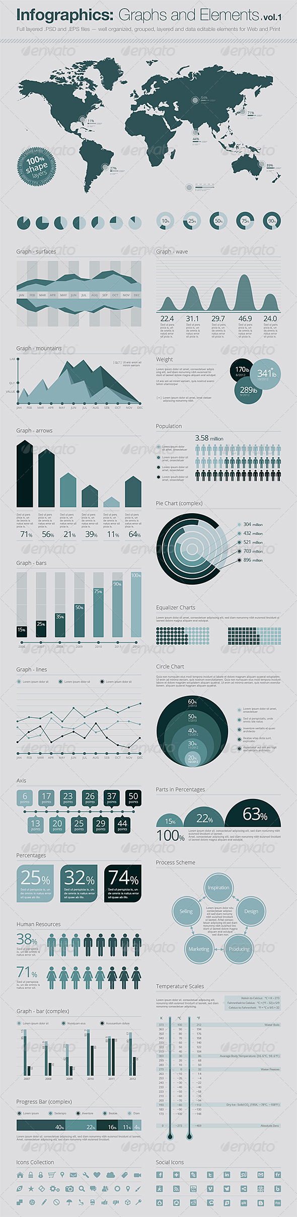 GraphicRiver Infographics Elements Vector Graphs and Elements 3231479