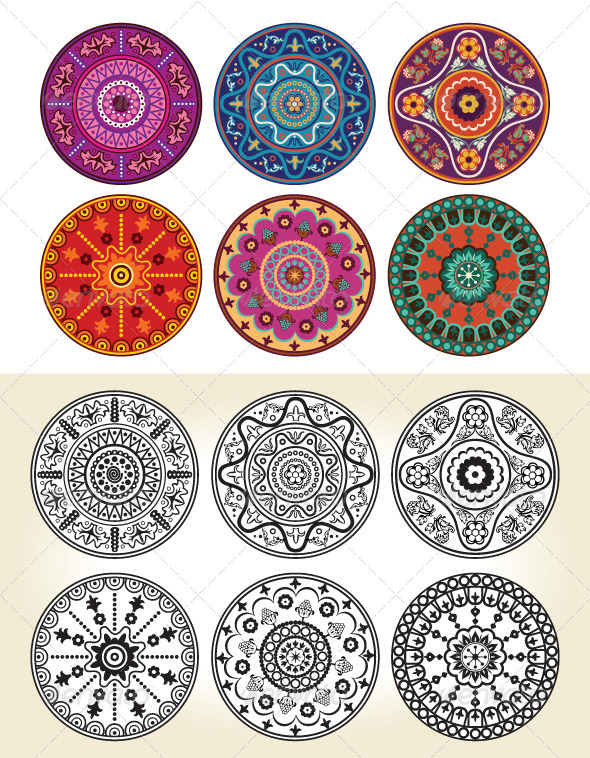 Graphic River Indian Style Floral Ornament  Vectors -  Decorative  Patterns 338914