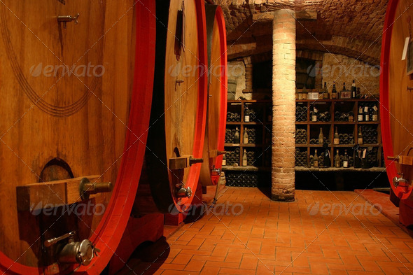 Italian wine cellar - Stock Photo - Images