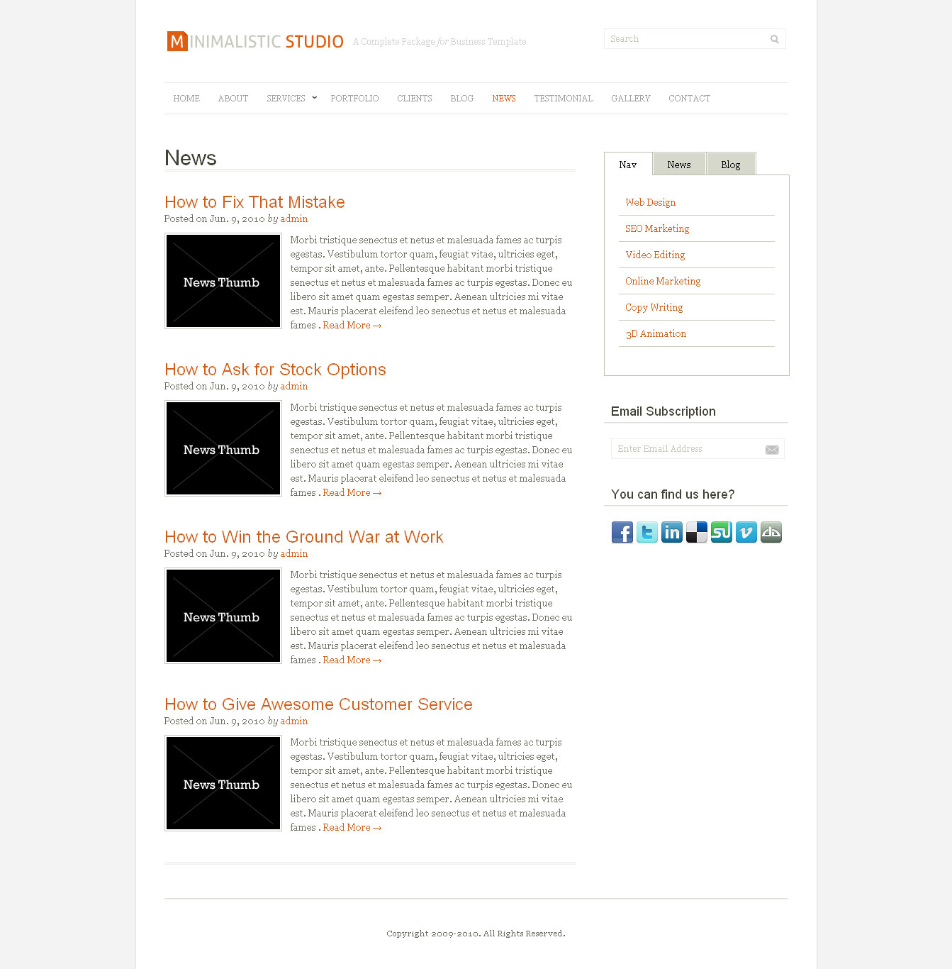 Minimalistic Studio - Premium Wordpress Theme