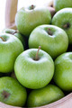 green granny smith apples in a wooden trug - PhotoDune Item for Sale