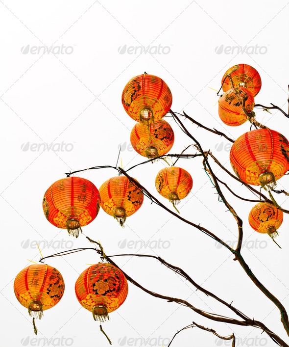 Chinese lantern on a white background - Stock Photo - Images
