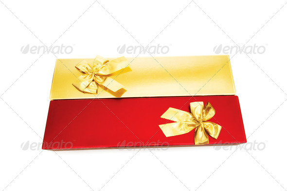 Gift boxes isolated on the white background - Stock Photo - Images