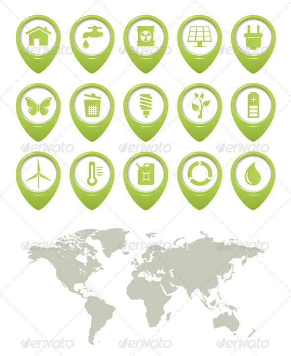 Ecology Buttons Set And World Map - Web Elements Vectors