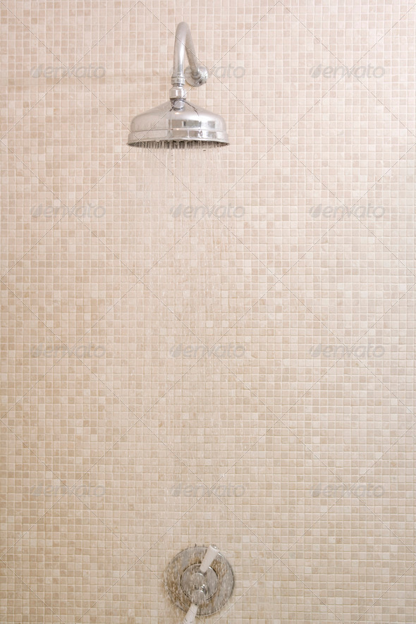 Empty shower with running water - Stock Photo - Images