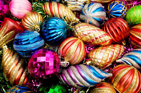 Colourful christmas decoration on a shiny background - Stock Photo - Images