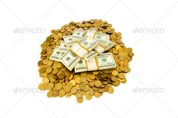Dollars and coins isolated on the white background - Stock Photo - Images