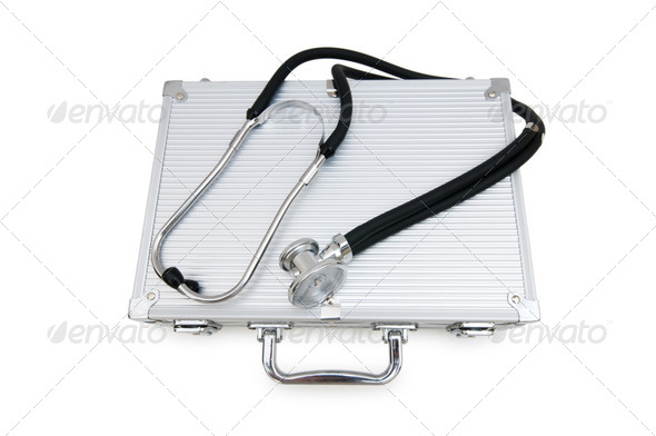 Stethoscope and case isolated on the white - Stock Photo - Images