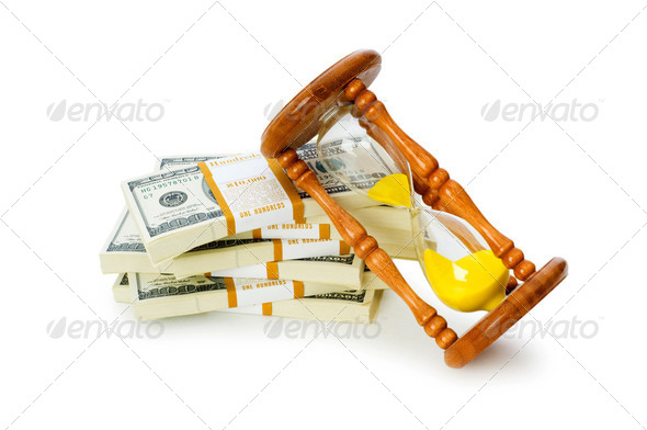 Time is money concept with dollars and hourglass - Stock Photo - Images
