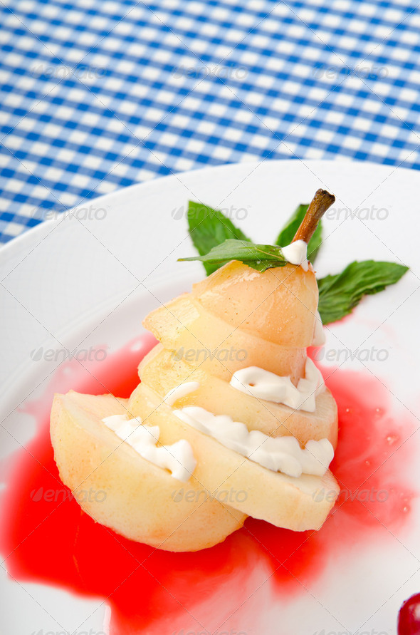 Food concept - Pear in wine - Stock Photo - Images