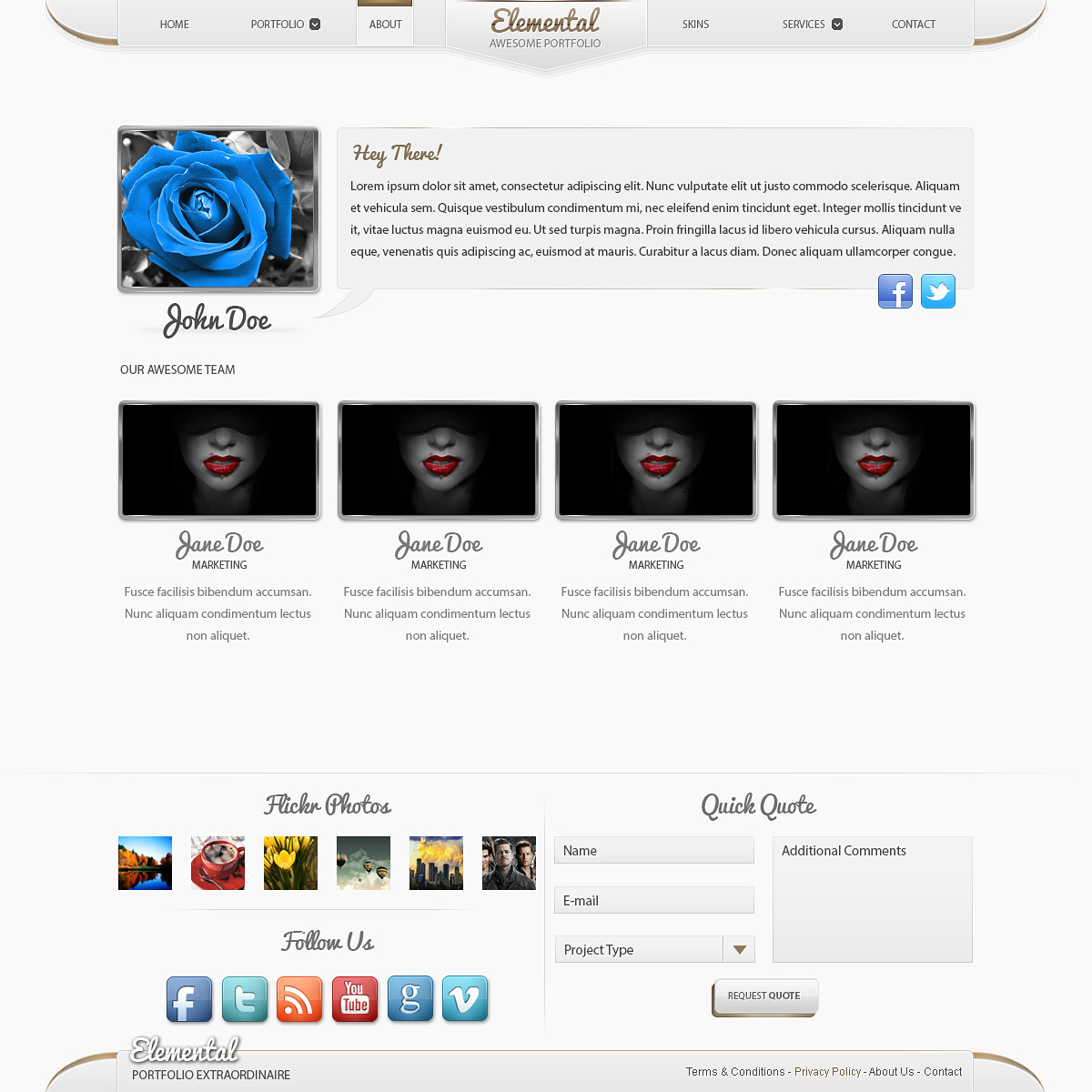 Elemental - Modern Portfolio PSD Template