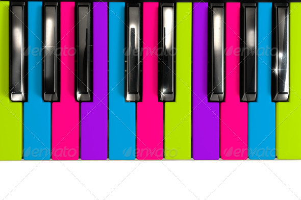 Multicolored Disco Style Piano Keys - Stock Photo - Images