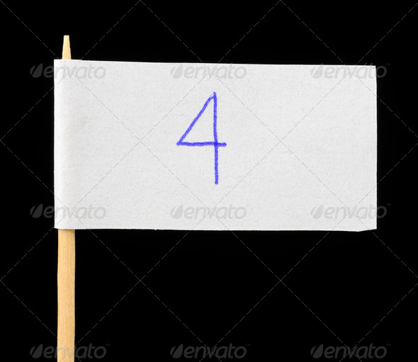 Handwritten Number Four on Paper Flag on Black Background - Stock Photo - Images