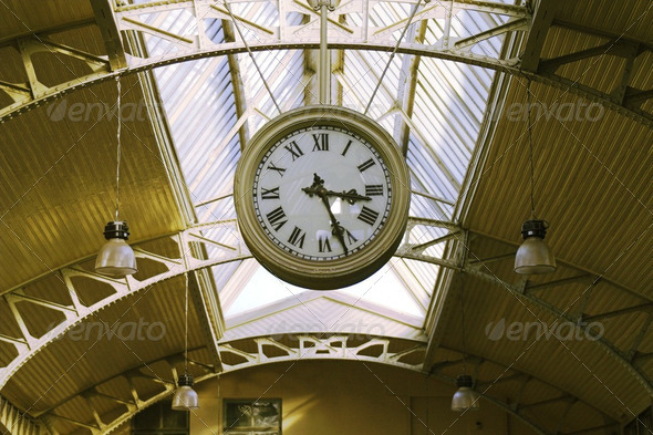 Hanging public clocks - Stock Photo - Images