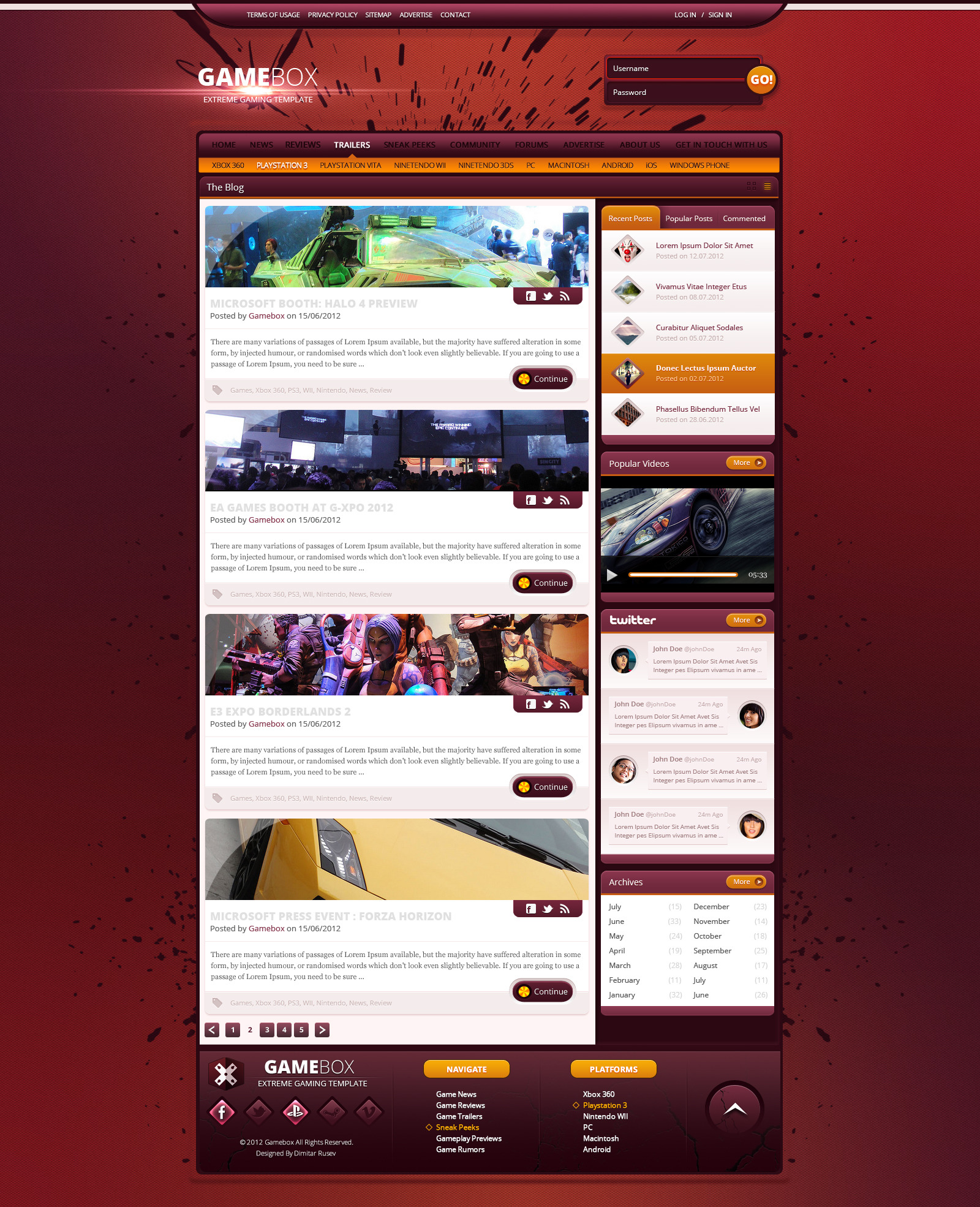 Gamebox - Xtreme Gaming PSD Template
