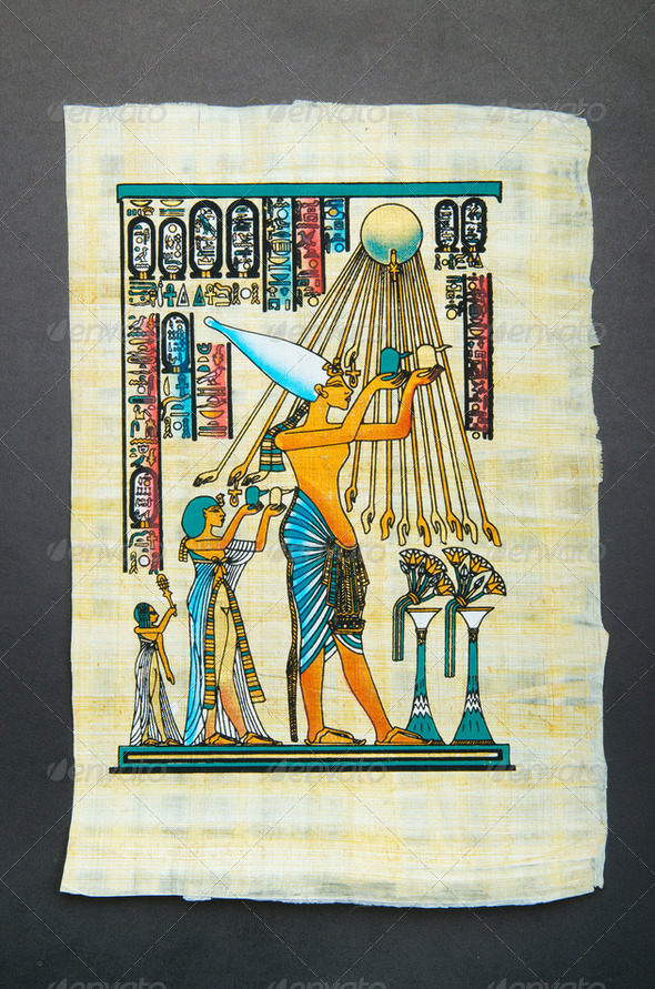 Fragment of egyptian papyrus - Stock Photo - Images
