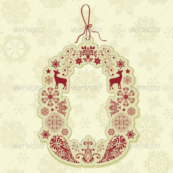GraphicRiver Vector Christmas Tag on Seamless Pattern 3271246