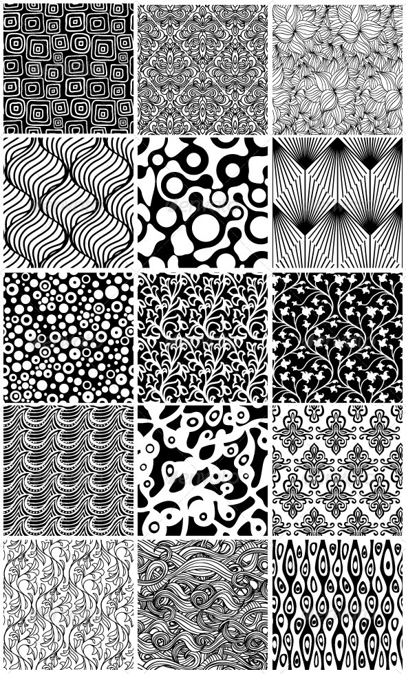 GraphicRiver 15 Black and White Floral Seamless Patterns 3271597