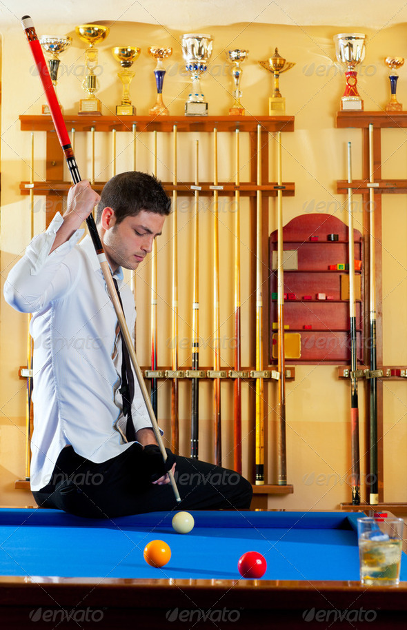 Billiard winner handsome man - Stock Photo - Images