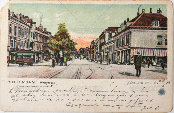 Antique postcard of 1906 with image of street in centre of Rotte - Stock Photo - Images