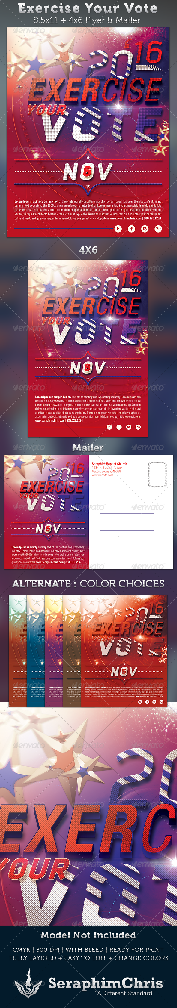 GraphicRiver Exercise Your Vote Flyer & Mailer Template 3263044