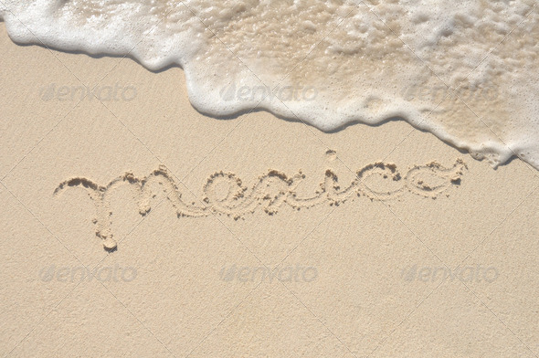 Mexico Written in Sand on Beach - Stock Photo - Images