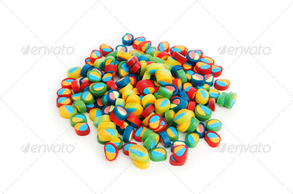 Colourful sweets isolated on the white background - Stock Photo - Images