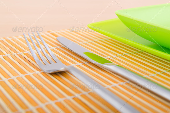 Served table with fork and knife - Stock Photo - Images