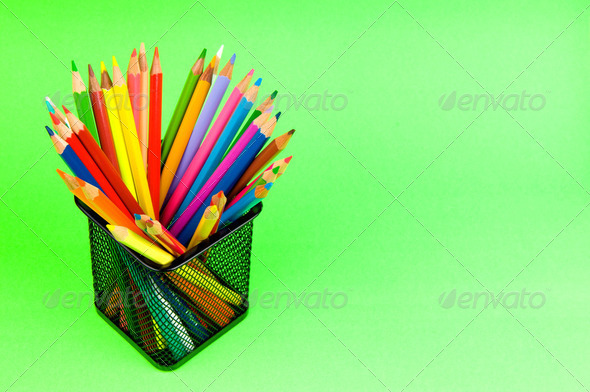 Back to school concept with colourful pencils - Stock Photo - Images