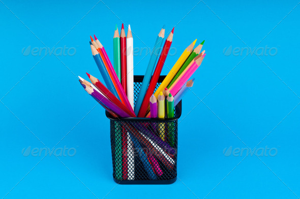 Colourful pencils on the background - Stock Photo - Images