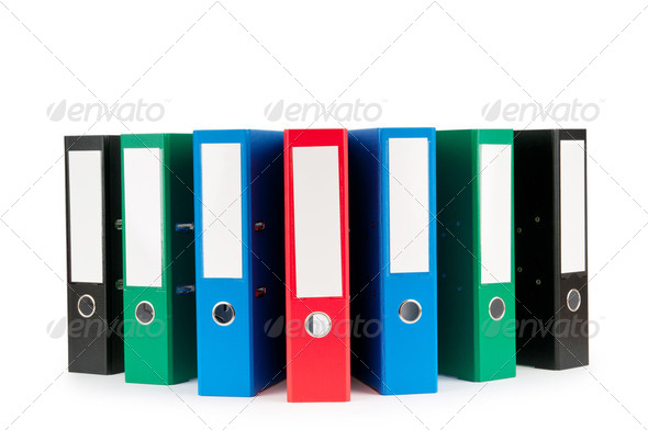 Office folders isolated on the white background - Stock Photo - Images