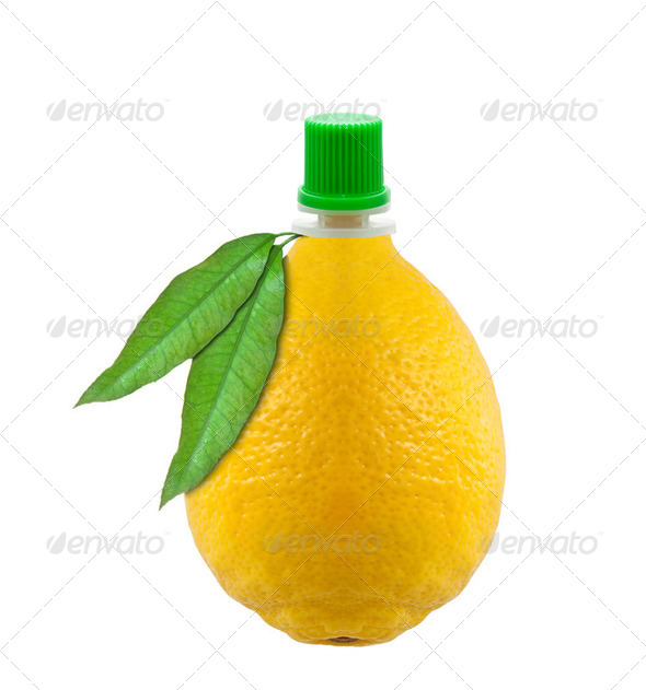 bottle of lemon juice in a lemon-shaped - Stock Photo - Images