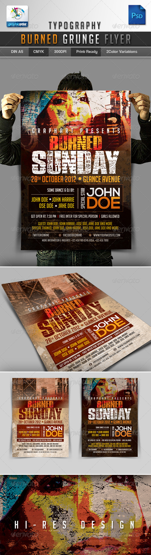GraphicRiver Typography Burned Grunge Flyer 3273887
